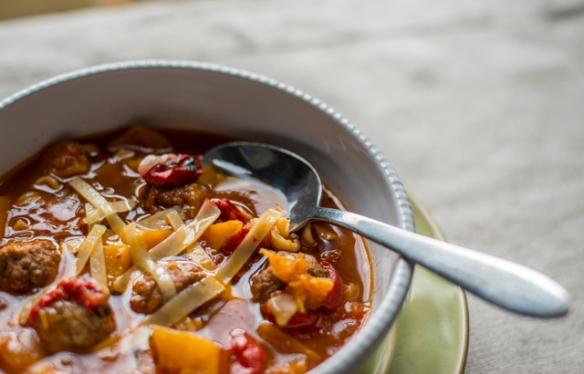 Butter squash meatball soup-14
