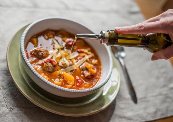 Butter squash meatball soup-4